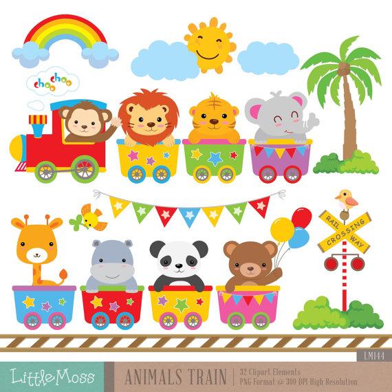 Baby Animal clipart train Train Clipart Wild animals Digital