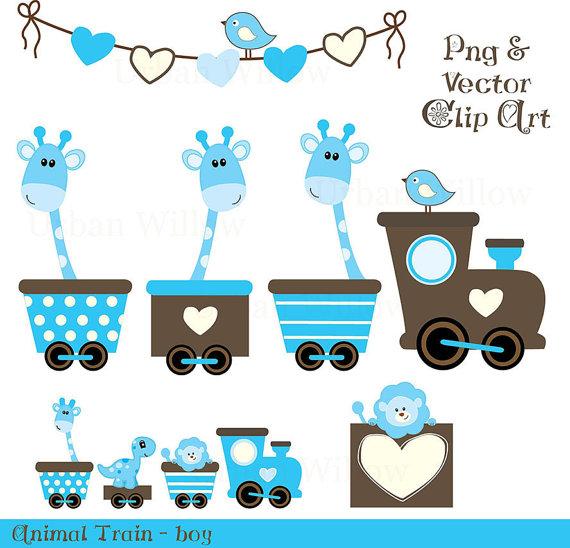 Baby Animal clipart train TRAIN digital piece set and