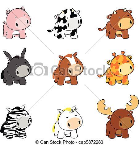 Baby Animal clipart vector art Of animals cartoon Vectors baby
