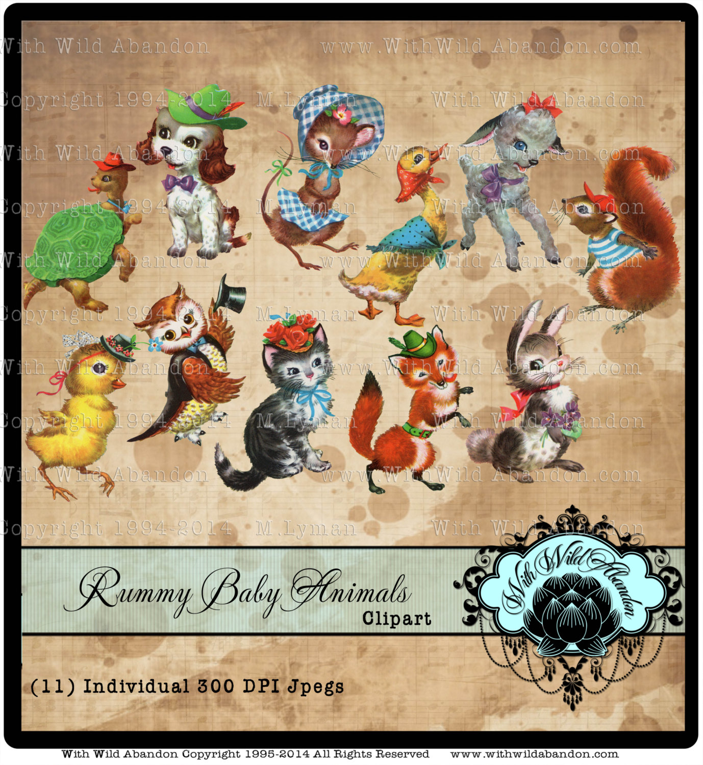 Baby Animal clipart vintage Lamb Vintage Images Owl Etsy