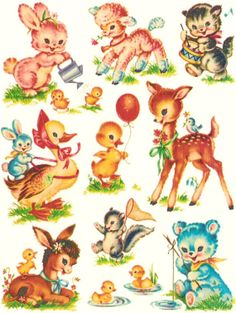 Baby Animal clipart vintage 99 Animals accessory size Spoonflower