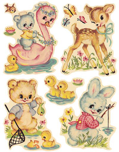 Baby Animal clipart vintage Stickers More ShaBby DeCALs BabyNursery