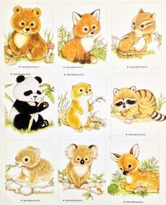 Baby Animal clipart vintage BABY pin stickers VTG Stickers