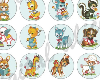 Baby Animal clipart vintage Download crafts Circles cute Baby