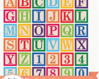 Baby clipart alphabet Digital / Alphabet Block Alphabet