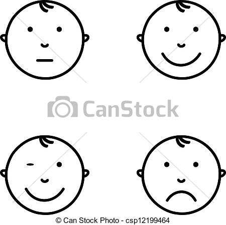 Baby clipart emotion With of Emotions face Vector