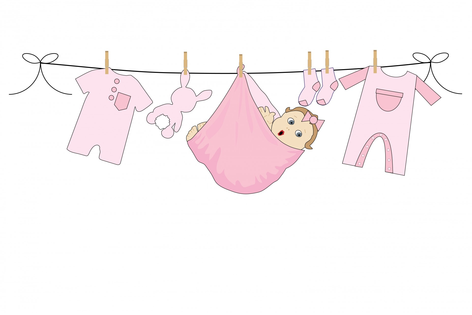 Baby clipart laundry line Collections girl clipart line clipart