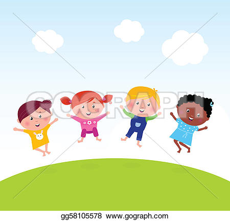 Baby clipart multicultural  on kids Royalty Free