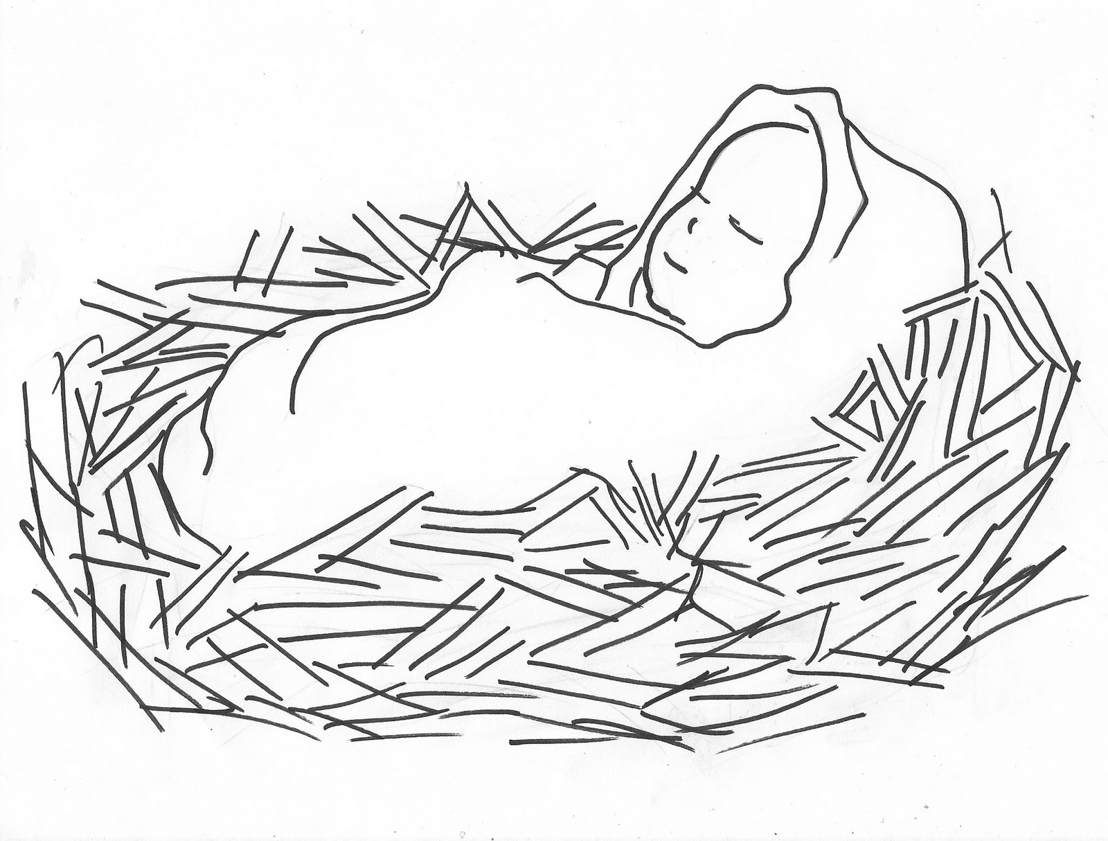 Black & White clipart baby jesus Images  Jesus Clipart Art