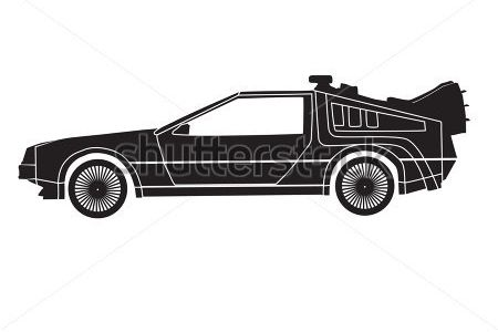 Back To The Future clipart black and white Car at the the to