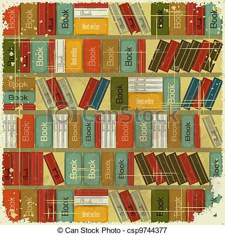 Bookcase clipart full Vintage Vector Vector Bookcase Vintage
