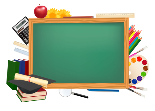 Covered clipart school background Blue Set of school Set