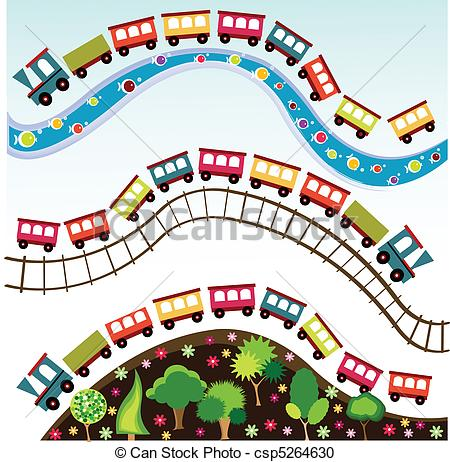 Background clipart train Csp5264630 Vector toy train pattern