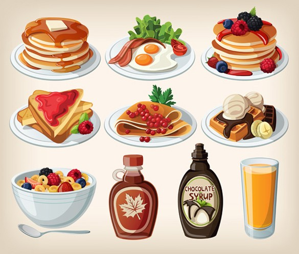 Cereal clipart breakfast plate Plate Various Food Cartoon