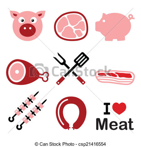 Ham clipart cooked steak Icon Vector pork and and