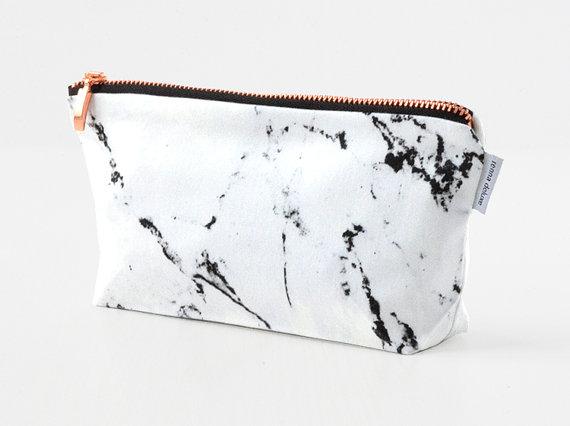 Bag clipart bag marble White MARBLE gold makeup bag