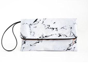 Bag clipart bag marble Clutch wristlet white marble bag