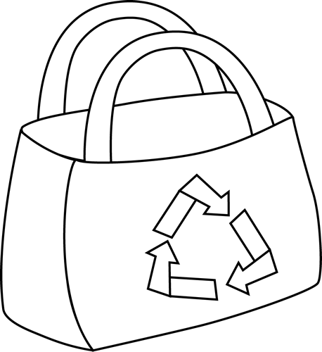 Bag clipart black and white Eco Friendly and Black White