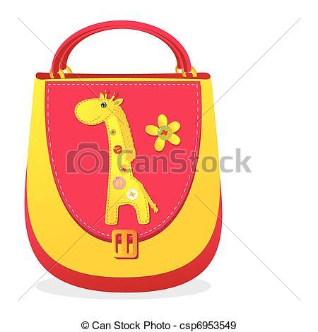 Bag clipart children's Applique of sewn bag applique