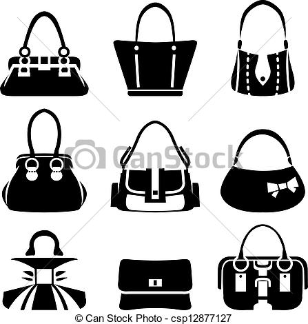 Drawn purse coloring Bags csp12877127 Vector Vector Illustration