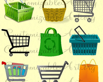 Bag clipart grocery basket Digital Shopping Graphics Recycled Basket