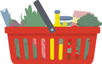 Bag clipart grocery basket Groceries baskets Graphics Free Clip