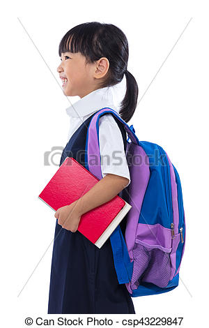 Bag clipart primary school Primary Photo girl school Chinese