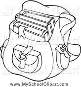 Bag clipart school outline Black Backpack Art by of
