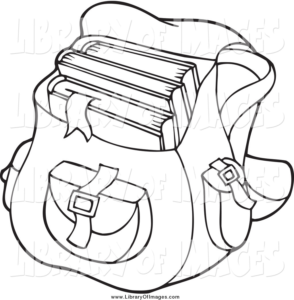 Bag clipart school outline Bag Outline and White Stock