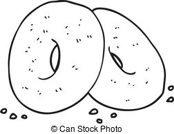 Bagel clipart black and white Cartoon and of freehand bagels