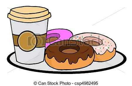 Bagel clipart coffee and Of Donuts Coffee With Vector