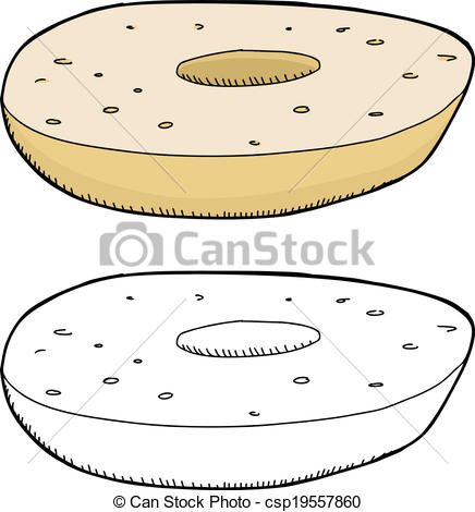 Bagel clipart plain One bagel Sliced Sliced Art