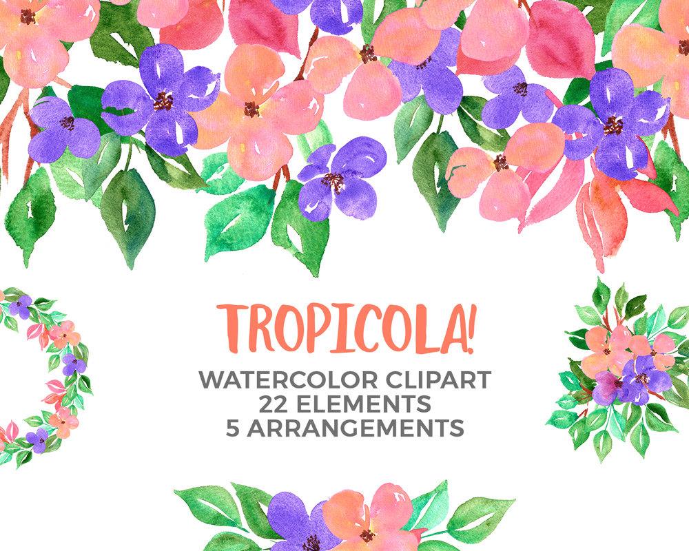 Costa Rica clipart Clipart Tropical Wreath Clipart Watercolor
