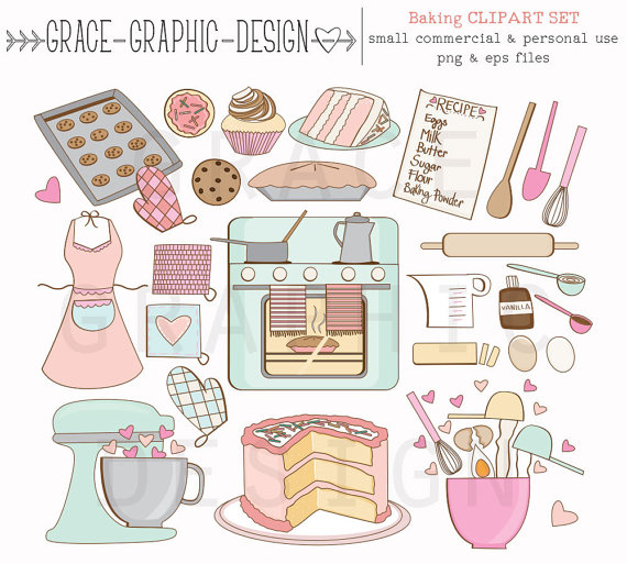 Vanilla Cupcake clipart colorful cupcake Clipart Digital Commercial Clipart Bake
