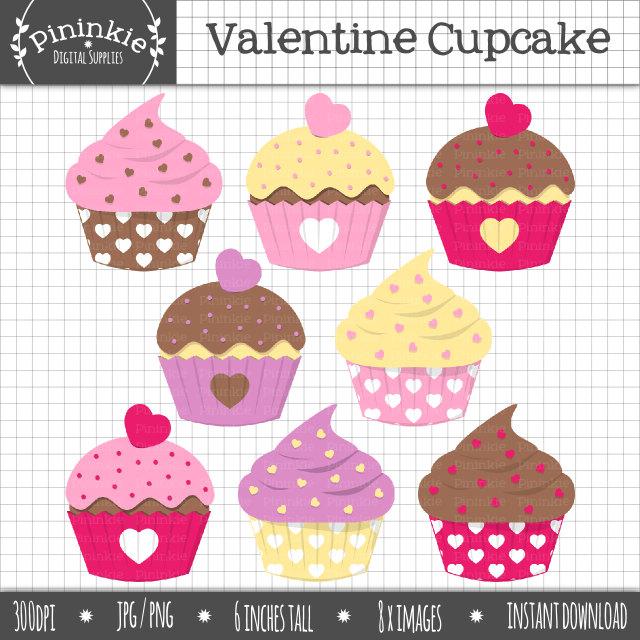 Vanilla Cupcake clipart pink cupcake Cupcake Digital Clipart Valentine Cupcake