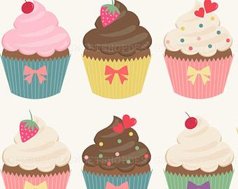 Vanilla Cupcake clipart illustration Cupcake Clip vector Clip Clip