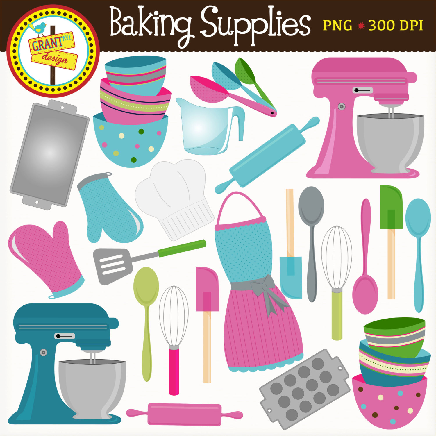 Baking clipart baking tool Cute Pink Supplies Blue and