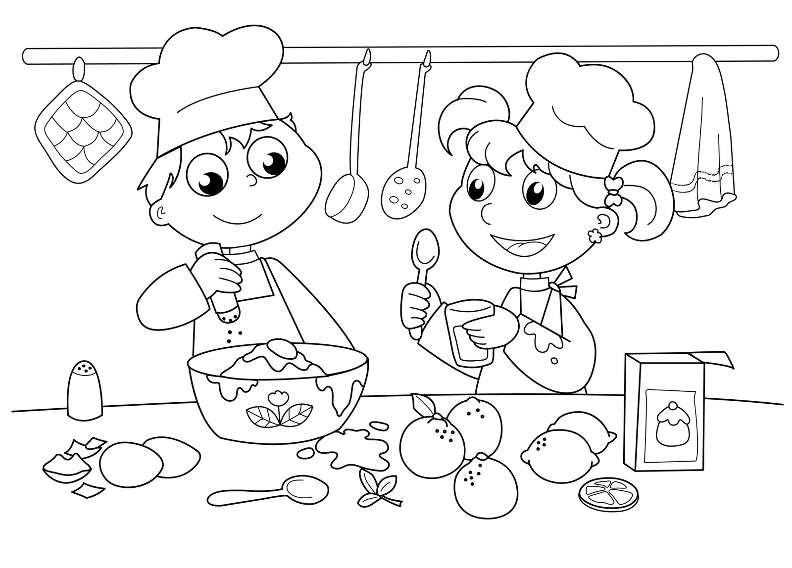 Baking clipart child baking Pages Pages Coloring Children Coloring