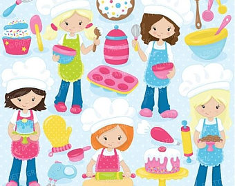 Baking clipart child baking SALE baking girls use Baking