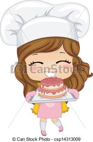 Baking clipart child baking Clip stock Girl stock illustration