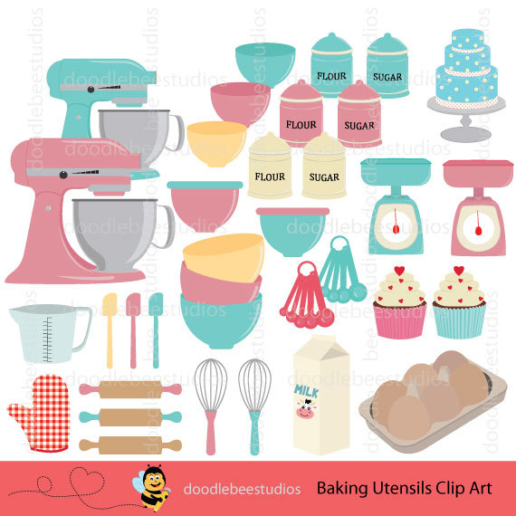 Cutlery clipart vector Utensils Baking Utensils Kitchen Etsy