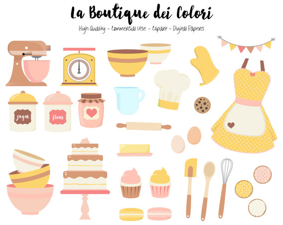 Baking clipart cute Graphics cookies cake Vintage Stickers