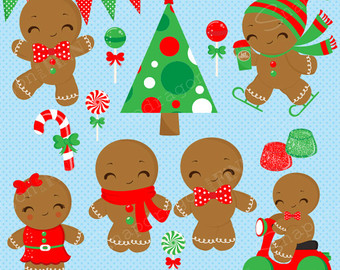 Gingerbread clipart eaten Gingerbread Clipart Gingerbread Christmas Etsy