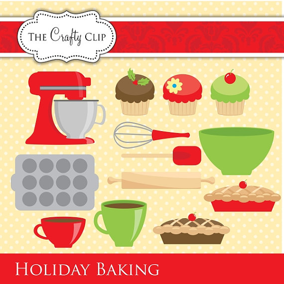 Baking clipart holiday baking TheCraftyClip $4 95 on Etsy