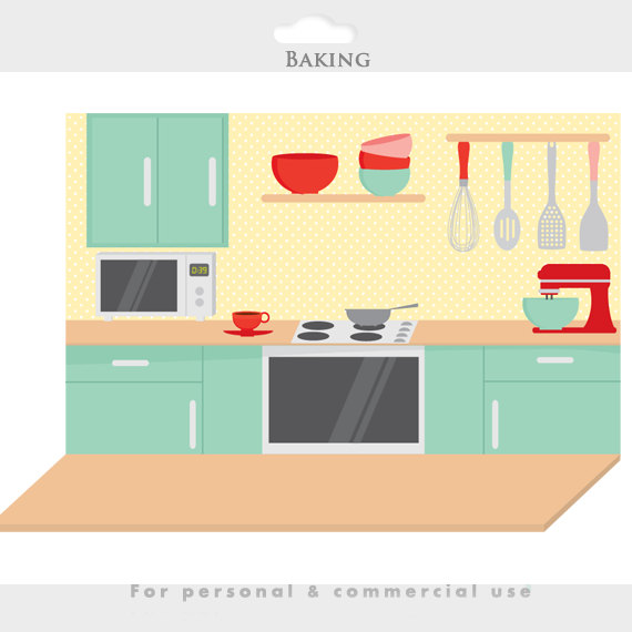 Baking clipart kitchen furniture Clipart girl Baking digital file