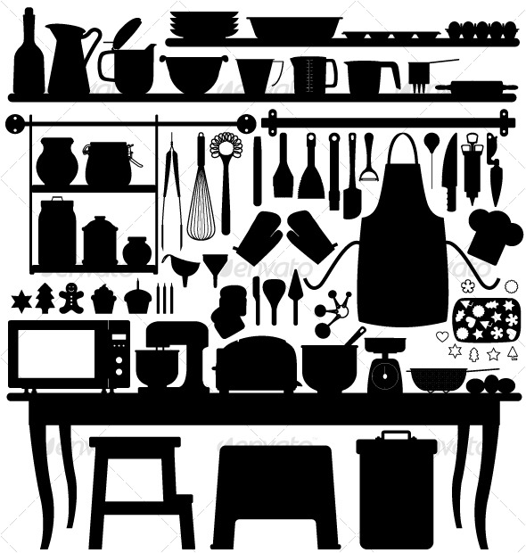 Baking clipart kitchen furniture Pastry silhouette Baking Tool Silhouette