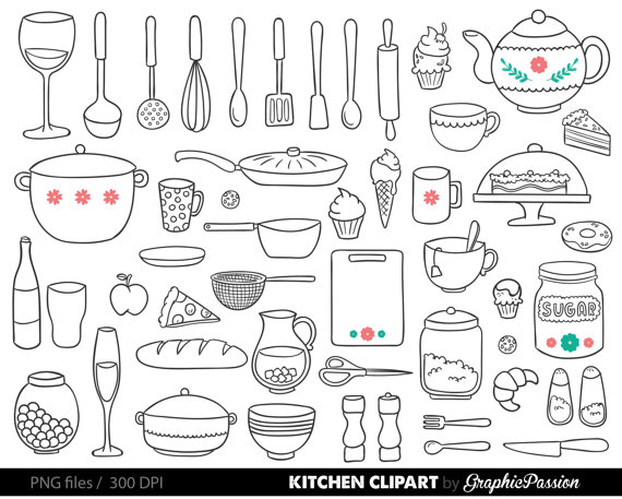 Teapot clipart fifteen Clipart Pan Utensils Mixer Baking