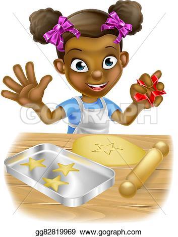 Baking clipart little boy Child black girl Stock Vector