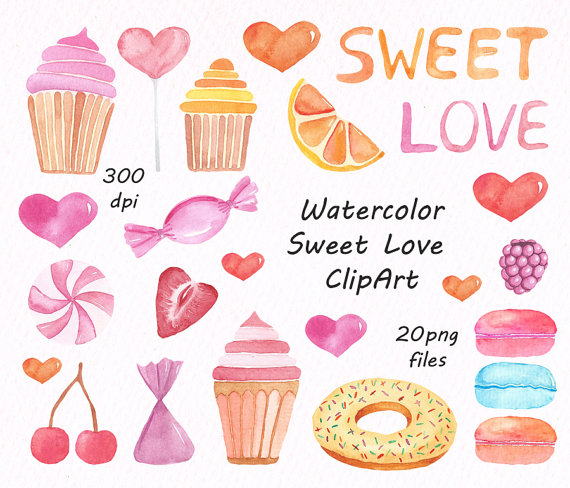 Baking clipart love Candy sweets Watercolor Sweet Clipart