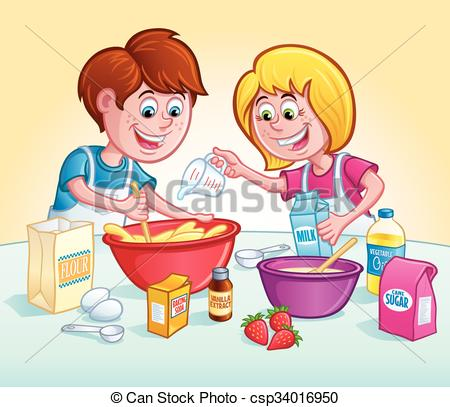 Baking clipart mix ingredient A Cartoon Recipe bowls Up